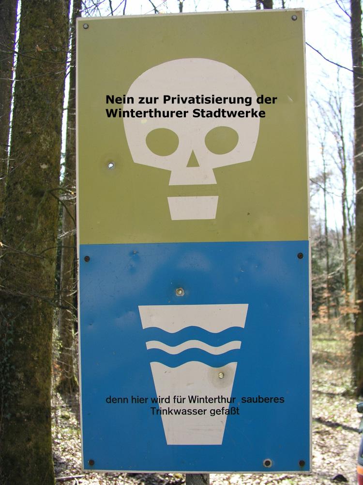 Nein zur Privatisierung der Wasser Grundversorgung