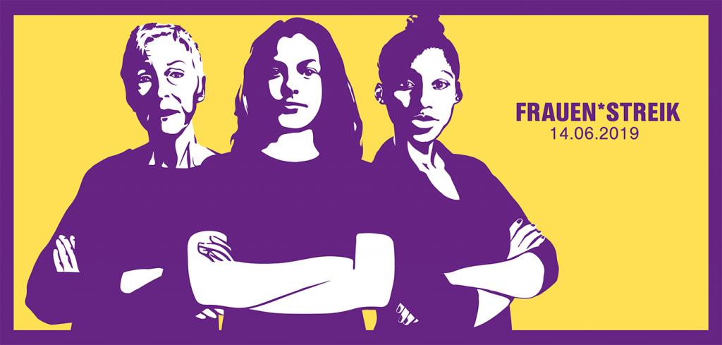 Frauenstreik Logo mit 3 solidarischen altersdurchmischten Frauen